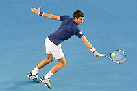 January 31, 2016: Novak Djokovic of Serbia in action in the Men's Final against Andy Murray of United Kingdom on day fourteen of the 2016 Australian Open Grand Slam tennis tournament at Melbourne Park in Melbourne, Australia. Photo Sydney Low