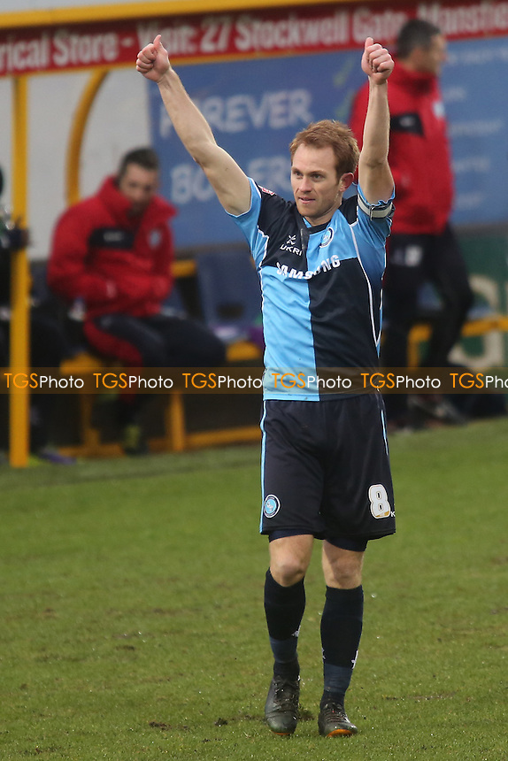 Stuart Lewis off Wycombe celebrates his opening goal - Mansfield Town vs Wycombe Wanderers - Sky Bet League Two Football at the One Call Stadium, Mansfield - 25/01/14 - MANDATORY CREDIT: Paul Dennis/TGSPHOTO - Self billing applies where appropriate - 0845 094 6026 - contact@tgsphoto.co.uk - NO UNPAID USE