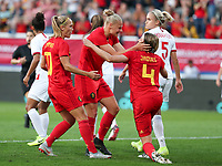 20190829 - LEUVEN , BELGIUM : Belgian players Janice Cayman (left) Elle van Kerkhoven (in the middle) are celebrating the goal of Heleen Jacques (left) during the female soccer game between the Belgian Red Flames and England , The Lionesses , a friendly womensoccer game in the preparation for the European Championship qualification round in group H for England 2021, Tuesday 29 th August 2019 at the King Power Stadion Den Dreef in Leuven , Belgium. PHOTO SPORTPIX.BE | SEVIL OKTEM