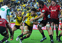 Ardie Savea takes a quick tap during the Super Rugby match between the Hurricanes and Crusaders at Westpac Stadium in Wellington, New Zealand on Friday, 29 March 2019. Photo: Dave Lintott / lintottphoto.co.nz