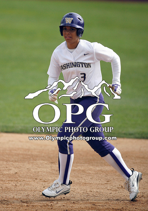 14 March 2010:  Washington Huskies #3 Niki Williams rounds second base against Seattle University. Washington defeated Seattle University 8-3 at Husky Softball Stadium in Seattle, WA.