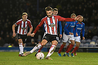 Josh Hancock of Altrincham scores from the penalty spot to make the score 1-1 during Portsmouth vs Altrincham, Emirates FA Cup Football at Fratton Park on 30th November 2019