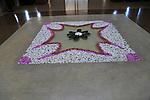 Frangipani petals design in lobby of Amaya Beach Resort and Spa hotel, Pasikudah Bay, Eastern Province, Sri Lanka, Asia
