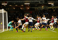 7th March 2020; Turf Moor, Burnley, Lanchashire, England; English Premier League Football, Burnley versus Tottenham Hotspur; Chris Wood of Burnley tries to get in his shot from inside a packed Tottenham Hotspur six yard box
