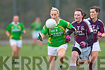 Kerry inspirational midfielder Bernie Breen launches another attack under pressure from Galway's  Barbara Hannon during their NFL game in Spa on Sunday