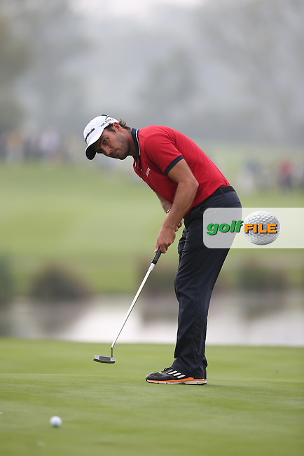Edouardo Molinari (ITA) misses a birdie on the 14th during Round Three of the ISPS Handa Wales Open 2014 from the Celtic Manor Resort, Newport, South Wales. Picture:  David Lloyd / www.golffile.ie