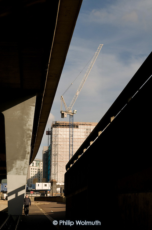 Construction work next to the Westway flyover on the Paddington Central office and retail development.