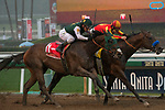 ARCADIA, CA  MARCH 10:  #1 Bolt d'Oro, ridden by Javier Castellano, outside and #4 McKinzie, ridden by Mike Smith, in the stretch of the San Felipe Stakes (Grade ll) on March 10, 2018, at Santa Anita Park in Arcadia, CA.(Photo by Casey Phillips/ Eclipse Sportswire/ Getty Images)