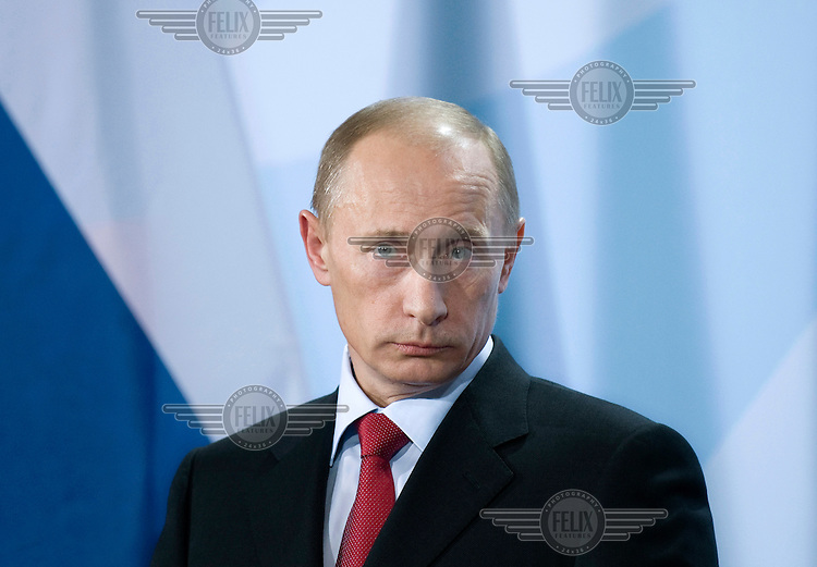 Vladimir Putin, Russian Prime Minister, at a press conference in Berlin....