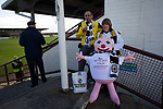 Two away fans with a Mr Blobby doll at Gayfield Park as Arbroath hosted Edinburgh City (in yellow) in an SPFL League 2 fixture. The newly-promoted side from the Capital were looking to secure their place in SPFL League 2 after promotion from the Lowland League the previous season. They won the match 1-0 with an injury time goal watched by 775 spectators to keep them 4 points clear of bottom spot with three further games to play.