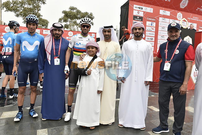 His Highness Sheikh Ahmed Bin Humaid Al-Nuaimi with World Champion Alejandro Valverde (ESP) Movistar Team with dignitaries before the start of Stage 6 of the 2019 UAE Tour, running 175km form Ajman to Jebel Jais, Dubai, United Arab Emirates. 1st March 2019.<br /> Picture: LaPresse/Fabio Ferrari | Cyclefile<br /> <br /> <br /> All photos usage must carry mandatory copyright credit (© Cyclefile | LaPresse/Fabio Ferrari)
