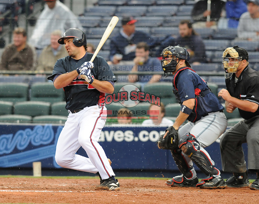 29 March 2008: Corky Miller of the Atlanta Braves in an exhibition game against the Cleveland Indians at Turner Field in Atlanta, Ga.   Photo by: Tom Priddy/Four Seam Images