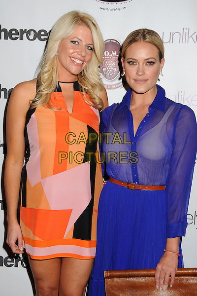 Erica Greve, Peta Murgatroyd<br /> Beverly Hills Lifestyle Magazine 5th Anniversary held at H.O.M.E., Beverly Hills, California, USA, 18th July 2013.<br /> half length orange pink dress colour block print cobalt white bra belt blue sheer see thru through shirt skirt brown clutch bag belt <br /> CAP/ADM/BP<br /> &copy;Byron Purvis/AdMedia/Capital Pictures