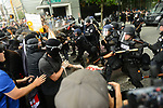 Seattle Police released pepper spray on the crowd of protestors at Second Avenue and Pine Street as tensions escalated during the Solidarity Against Hate rally Sunday August 13, 2017 in Seattle.