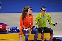 SPEEDSKATING: BERLIN: Sportforum Berlin, 27-29-01-2017, ISU World Cup, Antoinette de Jong (NED), Claudia Pechstein (GER), ©photo Martin de Jong