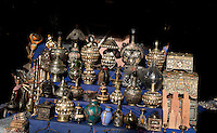 JUNE 3, 2008; MARRAKECH, MOROCCO; Antique metal works are on display in the souks of Marrakech, Morocco. The narrow alleys of the medina of Marrakech are filled with lanterns, antiques, animals, tile mosaics and spices. Photo by Matt May