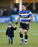 Kahn Fotuali'i of Bath Rugby with his son after the match. Aviva Premiership match, between Bath Rugby and Sale Sharks on February 24, 2018 at the Recreation Ground in Bath, England. Photo by: Patrick Khachfe / Onside Images