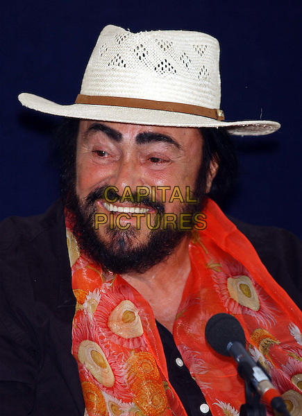 THE THREE TENORS - LUCIANO PAVAROTTI .Attend Photocall at Thermal Bath Spa in Bath. They will be performing a concert tomorrow night in Bath's Royal Victoria Park.www.capitalpictures.com.sales@capitalpictures.com.©Capital Pictures.headshot, portrait.straw hat