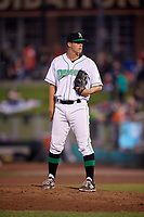Dayton Dragons relief pitcher Brian Hunter (28) looks in for the sign during a game against the Cedar Rapids Kernels on May 10, 2017 at Fifth Third Field in Dayton, Ohio.  Cedar Rapids defeated Dayton 6-5 in ten innings.  (Mike Janes/Four Seam Images)