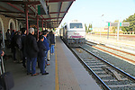 Renfe train arriving at railway station platform, Ronda, Malaga province, Spain