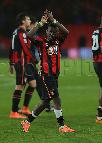 01.03.2016. Vitality Stadium, Bournemouth, England. Barclays Premier League. Bournemouth versus Southampton. Bournemouth Forward Max Gradel applauds his fans at full time