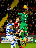 Queens Park Rangers goalkeeper Alex Smithies (1) punches the ball out during the Sky Bet Championship match between Sheff United and Queens Park Rangers at Bramall Lane, Sheffield, England on 20 February 2018. Photo by Stephen Buckley / PRiME Media Images.
