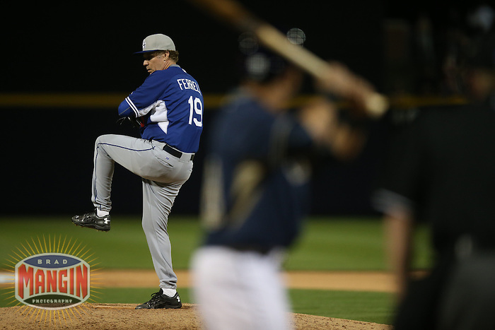 PEORIA, AZ - MARCH 12:  Actor Will Ferrell of the Los Angeles Dodgers pitches against the San Diego Padres during a spring training game at the Peoria Sports Complex on March 12, 2015 in Peoria, Arizona. (Photo by Brad Mangin)