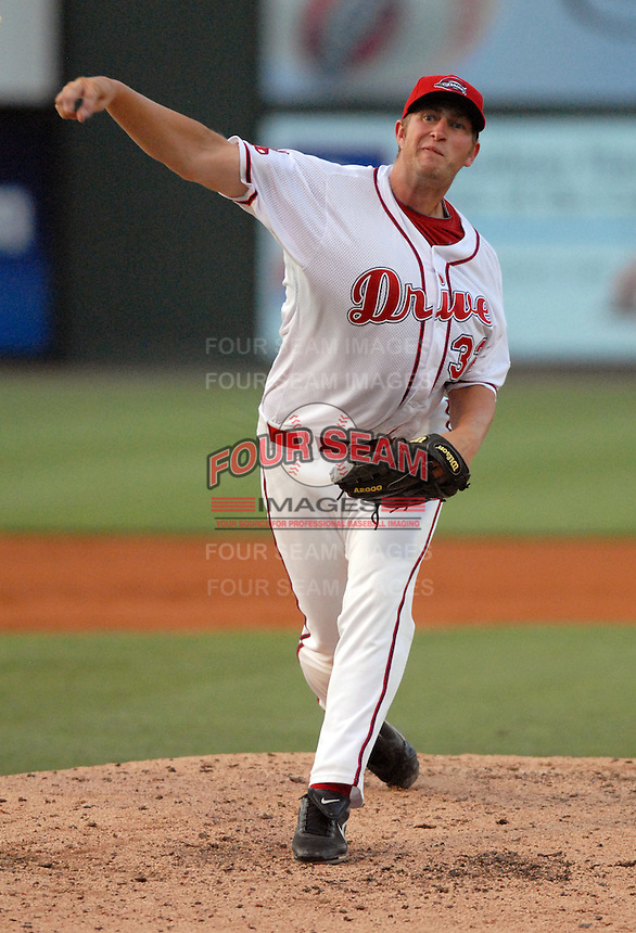 Pitcher Tom Ebert (32) throws during Spartanburg Night with the Greenville Drive on June 8, 2010, at Fluor Field at the West End in Greenville, S.C. Photo by: Tom Priddy/Four Seam Images