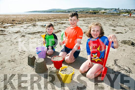 Enjoying the weather at Ballyheigue Beach on Monday were Tadhg Carroll, Liam Carroll and Clodagh Carroll from Ballyduff