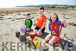Enjoying the weather at Ballyheigue Beach on Monday were Tadhg Carroll, Liam Carroll and Clodagh Carroll from Ballyduff