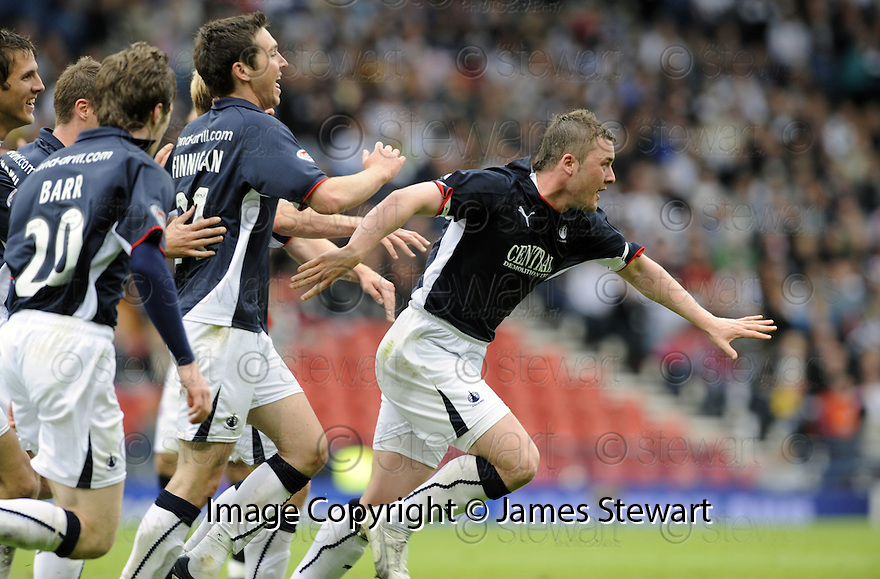 26/04/2009  Copyright Pic: James Stewart.sct_jspa13_falkirk_v_dunfermline.THOMAS SCOBBIE CELEBRATES AFTER HE SCORES FALKIRK'S FIRST.James Stewart Photography 19 Carronlea Drive, Falkirk. FK2 8DN      Vat Reg No. 607 6932 25.Telephone      : +44 (0)1324 570291 .Mobile              : +44 (0)7721 416997.E-mail  :  jim@jspa.co.uk.If you require further information then contact Jim Stewart on any of the numbers above.........