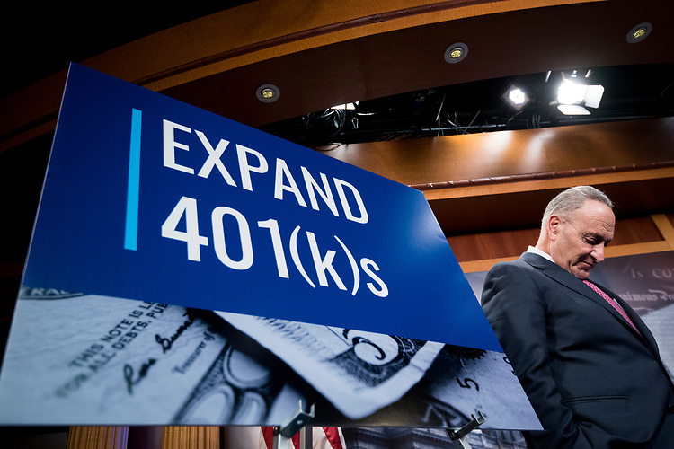 UNITED STATES - OCTOBER 31: Senate Minority Leader Chuck Schumer, D-N.Y., holds a news conference to unveil a plan to protect and expand retirement savings on Tuesday, Oct. 31, 2017. (Photo By Bill Clark/CQ Roll Call)