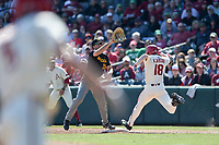 NWA Democrat-Gazette/CHARLIE KAIJO Arkansas Razorbacks outfielder Heston Kjerstad (18) runs to first during a baseball game, Sunday, March 17, 2019 at Baum-Walker Stadium in Fayetteville.