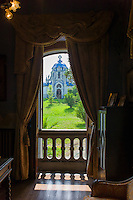 View of Mausoleum from inside La Casona, traditional Indianos house built 1900  in village of Samao in Asturias, Spain