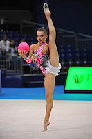 September 9, 2009; Mie, Japan;  Melitina Staniouta of Belarus performs balance with ball during qualification round at 2009 World Championships Mie. Melitina would eventually place 4th in the individual All Around and help Belarus win team silver. Photo by Tom Theobald.