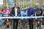 Race organiser Gary Verity and Christian Prudhomme ASO ready to start Stage 3 of the Tour de Yorkshire 2017 running 194.5km from Bradford/Fox Valley to Sheffield, England. 30th April 2017. <br /> Picture: ASO/P.Ballet | Cyclefile<br /> <br /> <br /> All photos usage must carry mandatory copyright credit (&copy; Cyclefile | ASO/P.Ballet)