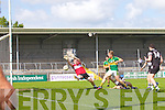 Dara Roche of Kerry watches his goal kick against Chris McGlynn of Sligo in the GAA Football All-Ireland Junior Championship Semi Final last Saturday in Cusack Park, Ennis.