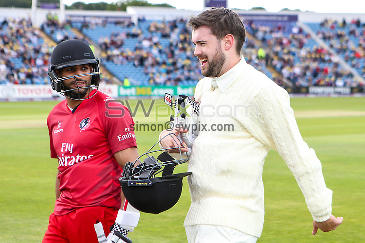 Picture by Alex Whitehead/SWpix.com - 05/06/2015 - Cricket - NatWest T20 Blast - Yorkshire Vikings v Lancashire Lightning - Headingley Cricket Ground, Leeds, England - A League Of Their Own, Amir Khan and Jack Whitehall.