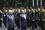 Jordan's King Abdullah II and Palestinian president Mahmud Abbas observes the honor guard during a visit in the West Bank city of Ramallah on August 7, 2017. Jordan's King began a rare visit to the occupied West Bank to meet With Palestinain president, amid shared tensions with Israel over a flashpoint Jerusalem holy site. Photo by Shadi Hatem