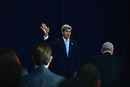 Washington, DC - December 28, 2016: U.S. Secretary of State John Kerry waves to the audience after delivering remarks on Middle East Peace at the Department of State's Dean Acheson Auditorium, December 28, 2016.    (Photo by Don Baxter/Media Images International)