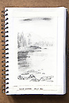 Clarke Island, Barkley Sound, charcoal on paper, Journal Art 2010,