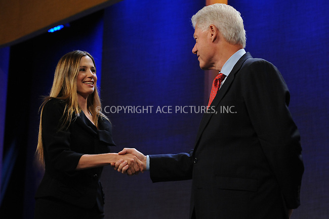WWW.ACEPIXS.COM . . . . . ....September 24 2009, New York City....Former President Bill Clinton (R) appears with actress Mira Sorvino at the Clinton Global Initiative on September 24 2009 in New York City....Please byline: KRISTIN CALLAHAN - ACEPIXS.COM.. . . . . . ..Ace Pictures, Inc:  ..tel: (212) 243 8787 or (646) 769 0430..e-mail: info@acepixs.com..web: http://www.acepixs.com