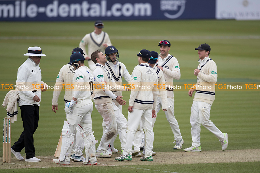 The Middlesex players congratulate David Malan following the dismissal of Hameed during Middlesex CCC vs Lancashire CCC, Specsavers County Championship Division 2 Cricket at Lord's Cricket Ground on 12th April 2019