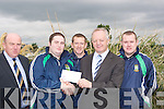 PRESENTATION: John O'Sullivan (general manager Lee-Strand) who presented a cheque to Cathal O'Shea (PRO Listry GAA Club) on Monday morning at Lee Strand, Tralee. L-r: Jerry Dwyer (production manager), Cathal O'Shea (pro Listry) GAA Club), Danny Wrenn (Capt), John O'Sullivan (GM Lee Strand) and Mike Tagney (player).