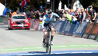 Picture by Simon Wilkinson/SWpix.com - 24/09/2018 - Cycling 2018 Road Cycling World Championships Innsbruck-Tiriol, Austria - Junior Men's Individual Time Trial - Remco Evenepoel of Belgium celebrates.