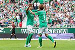 01.09.2019, wohninvest WESERSTADION, Bremen, GER, 1.FBL, Werder Bremen vs FC Augsburg<br /> <br /> DFL REGULATIONS PROHIBIT ANY USE OF PHOTOGRAPHS AS IMAGE SEQUENCES AND/OR QUASI-VIDEO.<br /> <br /> im Bild / picture shows<br /> Jubel 3:2, <br /> Vorlagengeber Marco Friedl (Werder Bremen #32) bejubelt 3:2 Treffer mit Torschütze Yuya Osako (Werder Bremen #08), <br /> <br /> Foto © nordphoto / Ewert