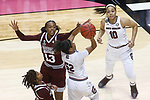 DALLAS, TX - APRIL 2: Ketara Chapel #13 of the Mississippi State Lady Bulldogs attempts to block Tyasha Harris #52 of the South Carolina Gamecocks during the 2017 Women's Final Four at American Airlines Center on April 2, 2017 in Dallas, Texas. (Photo by Timothy Nwachukwu/NCAA Photos via Getty Images)