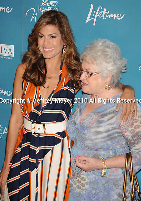 BEVERLY HILLS, CA. - September 30: Eva Mendes and mother arrive at Variety's 2nd Annual Power Of Women Luncheon at The Beverly Hills Hotel on September 30, 2010 in Beverly Hills, California.