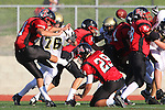 Palos Verdes, CA 11/10/10 - Brandon Mesker (Peninsula #76), \pj21\ and Matt Lopes(Palos Verdes # 29) in action during the junior varsity football game between Peninsula and Palos Verdes at Palos Verdes High School.