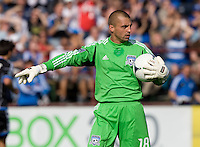 Earthquakes goalkeeper Jon Busch in action during the game against Whitecaps at Buck Shaw Stadium in Santa Clara, California on April 7th, 2012.  San Jose Earthquakes defeated Vancouver Whitecaps, 3-1.